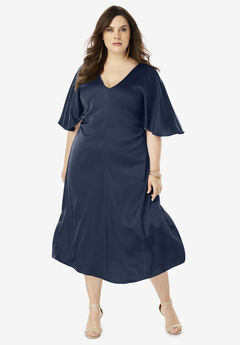 Ruched V-Neck Dress with Dolman Sleeves, NAVY