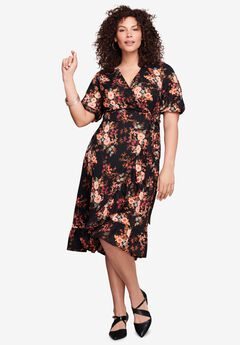 Ruffle-Trim Wrap Dress,