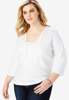 Cropped Bolero Cardigan, WHITE, hi-res