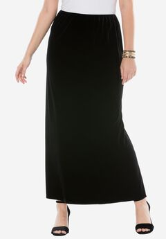 Velvet Maxi Skirt by Alex Evenings, BLACK, hi-res