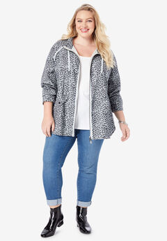Hooded Anorak Jacket, GRAY ANIMAL PRINT
