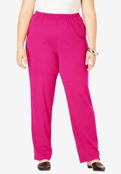 Straight-Leg Soft Knit Pant, VIVID PINK