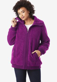 Textured Fleece Bomber Coat, PURPLE TULIP