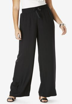 Drape Wide-Leg Pant, BLACK