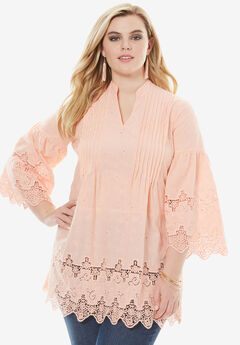 Pleated Eyelet Tunic, SUN BLEACH CORAL, hi-res