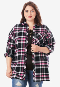 Flannel Tunic, BLACK PLAID
