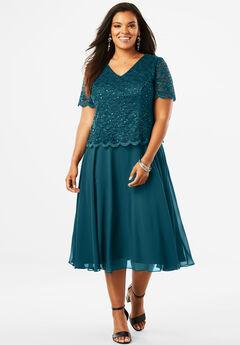 Illusion Popover Dress, MIDNIGHT TEAL