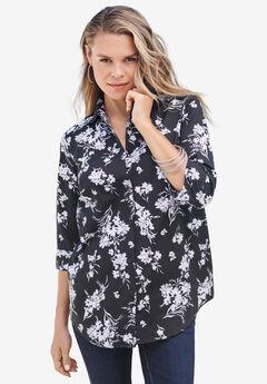 Three-Quarter Sleeve Kate Big Shirt, BLACK FLAT FLORAL