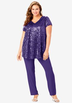 Sequin Tunic & Pant Set, MIDNIGHT VIOLET
