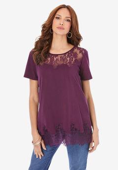 Lace-Trim T-Shirt,