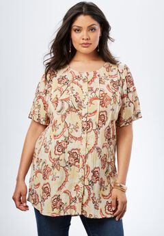 Angelina Tunic in Crinkle Crepe, ETHNIC FLORAL