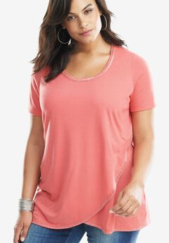 Beaded Tee with High-Low Hem, SUNSET CORAL, hi-res