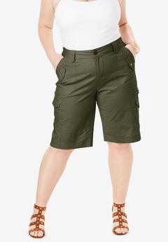 Cargo Shorts with Adjustable Bungee Hem, DARK OLIVE GREEN, hi-res
