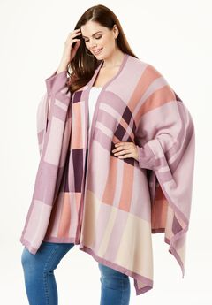 Plaid Poncho Cardigan, PINK PLAID