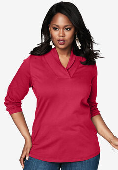 Ultimate Shawl Collar Tee, CLASSIC RED, hi-res