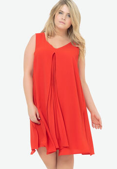 Pleated Trapeze Dress by Castaluna, CORAL, hi-res