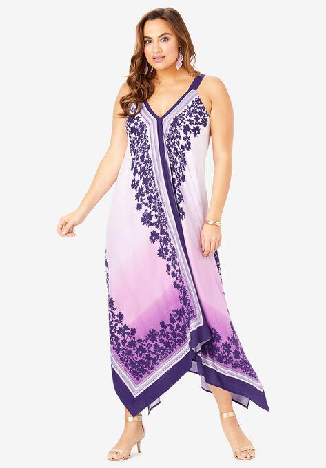 Scarf-Print Maxi Dress with Handkerchief Hem