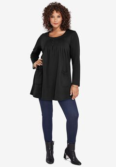 Long-Sleeve Two-Pocket Swing Tunic,