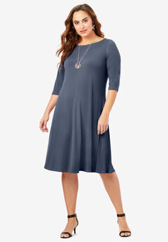 Ultra Smooth Boatneck Swing Dress, NAVY
