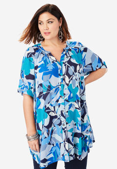 Angelina Tunic, BLUE ABSTRACT FLORAL