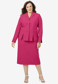 Two-Piece Skirt Suit with Shawl-Collar Jacket, SWEET RUBY