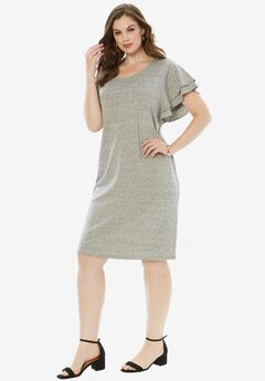 Ruffle-Sleeve Dress, MEDIUM HEATHER GREY, hi-res