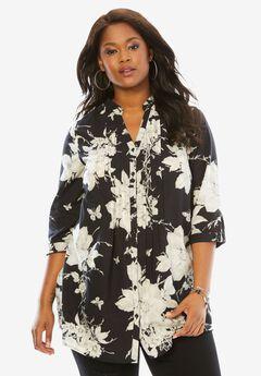 English Floral Tunic with Pintucks, BLACK WHITE PRINT
