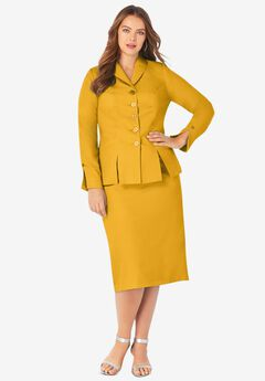 Two-Piece Skirt Suit with Shawl-Collar Jacket, SUNSET YELLOW