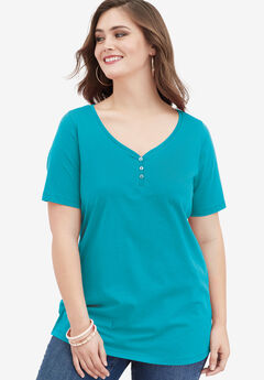 Ultimate Sweetheart Neck Tee, VIBRANT TURQ, hi-res