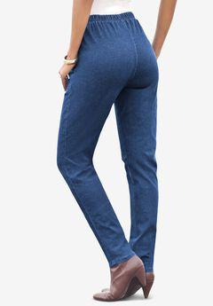 Straight-Leg Pull-On Stretch Jean by Denim 24/7®, LIGHT STONEWASH SANDED