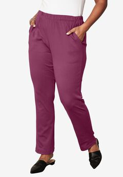 Soft Knit Straight-Leg Pants, RUBY BERRY, hi-res