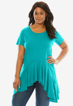 The Handkerchief Hem Maxi Tunic, VIBRANT TURQ, hi-res