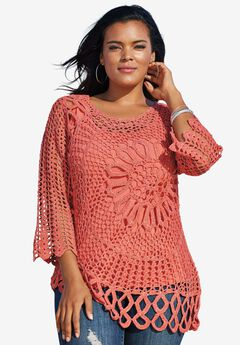 Starburst Crochet Sweater, DUSTY CORAL, hi-res