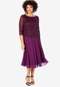 Embellished Lace & Chiffon Dress, DARK BERRY