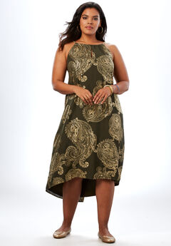 High-Low Paisley Dress with Chain Neckline, OLIVE EXPLODED PAISLEY