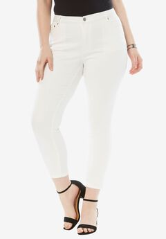 Skinny Jeans with Invisible Stretch® Waistband by Denim 24/7®, WHITE DENIM