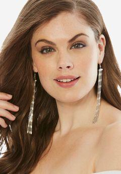 Tassel Earrings, SILVER, hi-res