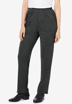 Straight-Leg Soft Knit Pant, HEATHER CHARCOAL