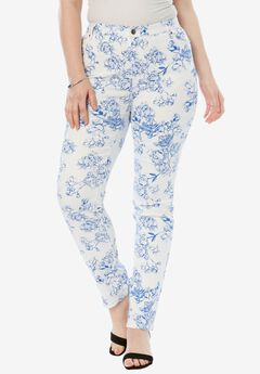 Straight Leg Jean with Invisible Stretch® by Denim 24/7®, FLORAL, hi-res