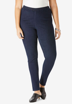 Skinny-Leg Pull-On Stretch Jean by Denim 24/7®, INDIGO WASH