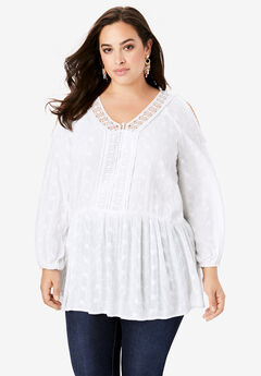Cold-Shoulder Embroidered Blouse, WHITE