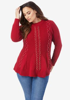 Fit-and-Flare Sweater, CLASSIC RED