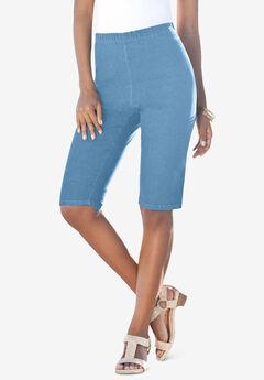 Pull-On Stretch Bermuda Jean Short, LIGHT STONEWASH