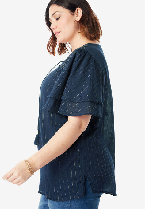 019fb60a Flutter-Sleeve Crinkle Top with Tassels | Plus Size Blouses & Shirts ...