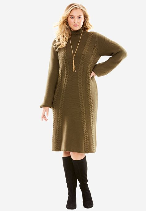 Mock Neck Sweater Dress| Plus Size Dresses | Roaman\'s