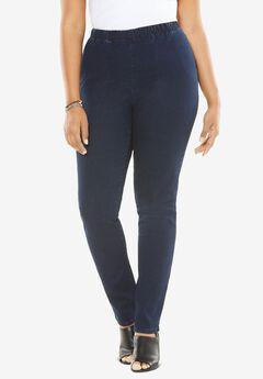 Straight-Leg Pull-On Stretch Jean by Denim 24/7®, INDIGO WASH