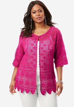 Scallop-Trim Crochet Cardigan,