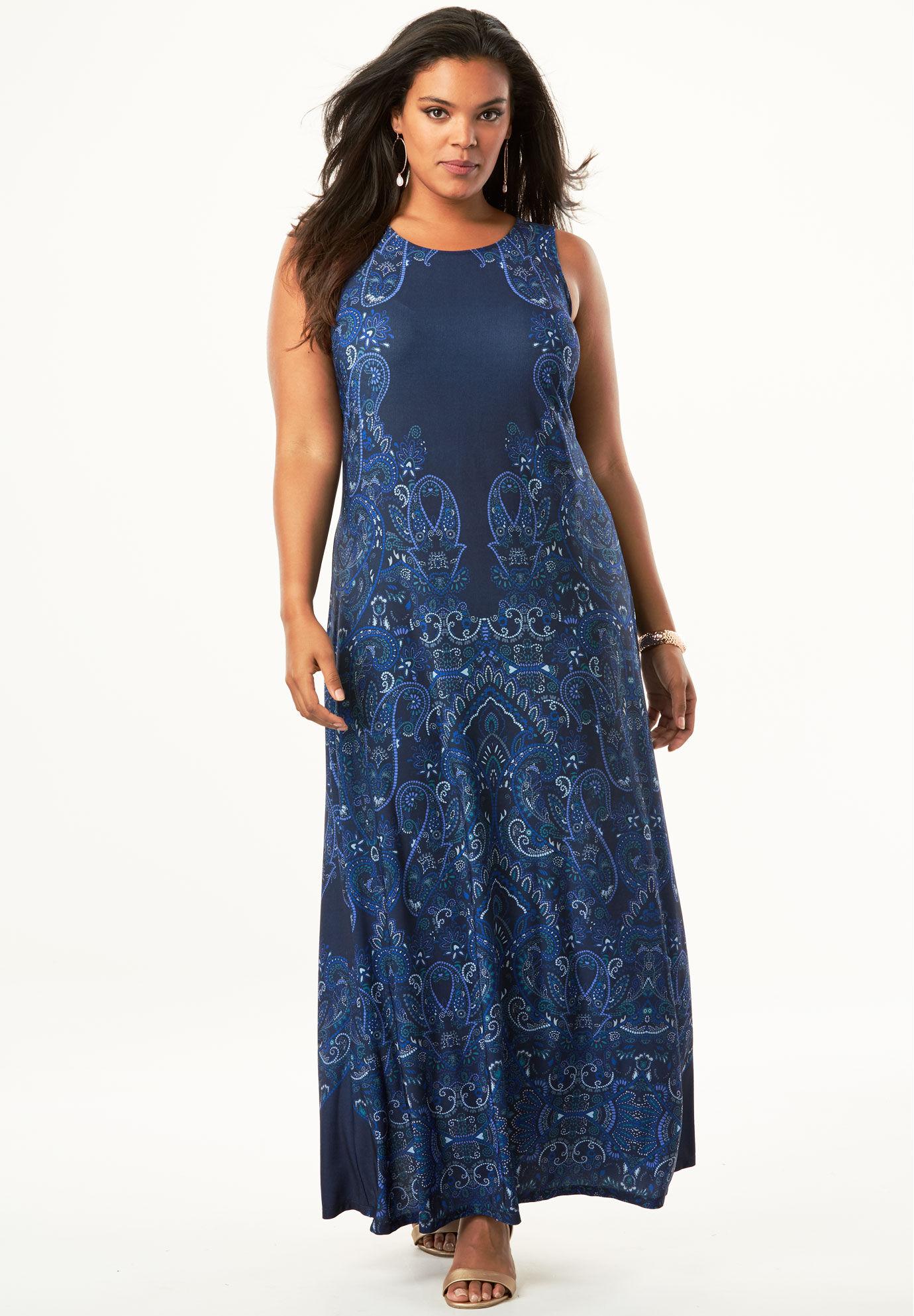 Blue Black Women's Plus Size Maxi Dress