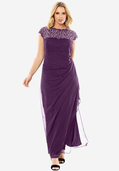 Long Evening Dress with Metallic Lace Top, EGGPLANT, hi-res