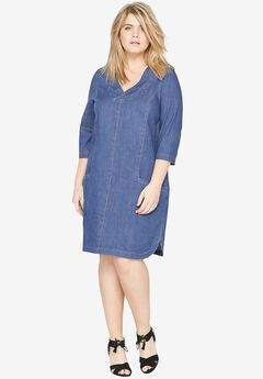 Denim Shift Dress by Castaluna, LIGHT STONEWASH, hi-res